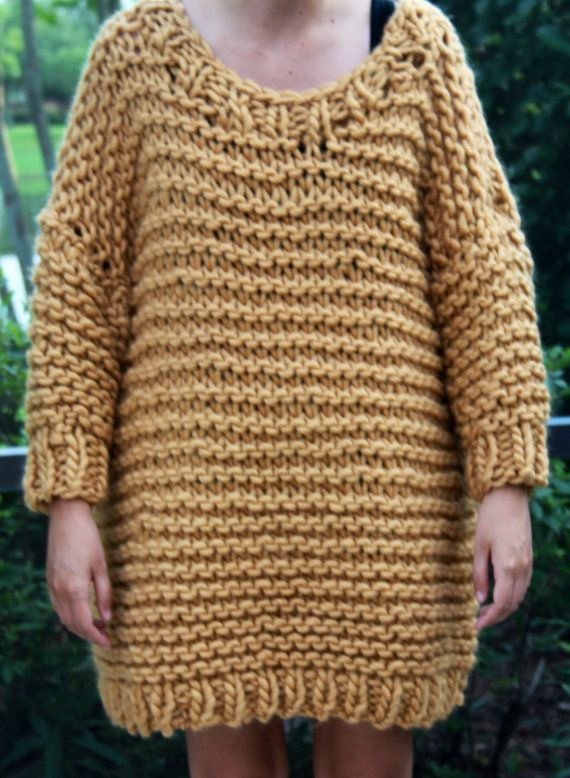 Hand Knit Super Tan Bulky Weekend sweater Tunic in by bpenatzer ...