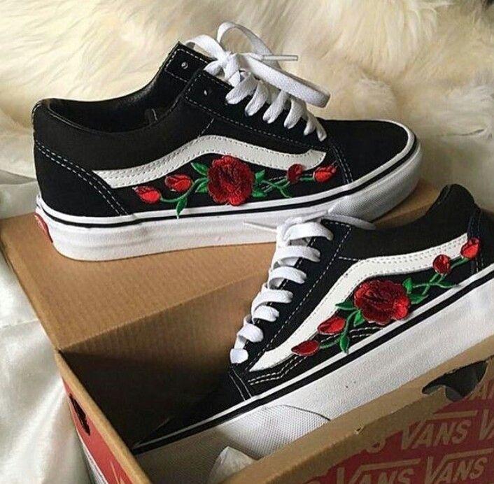vans roses brodées