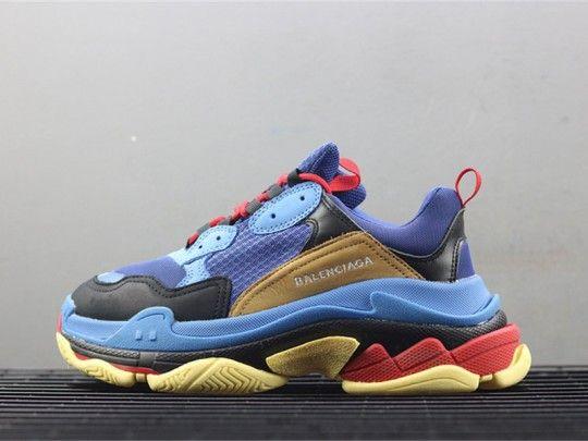 b986e026a048 Balenciaga Men s Triple S Mesh   Leather Sneakers Blue Orange ...