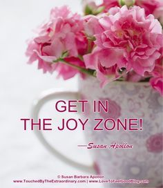 """Get in the joy zone! No one expects you to be bubbling over with cheer all the time, and true joy doesn't always look like that anyway. The 'joy zone' can be thought of as a space of quiet contentedness…"" —Susan Barbara Apollon, Psychologist and Author of AFFIRMATIONS FOR HEALING MIND, BODY & SPIRIT: PAPERBACK AVAILABLE AT AMAZON.COM www.amazon.com/dp/1938984072"