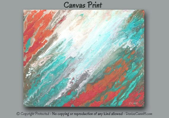 Coral Teal Coastal Artwork Picture Beachy Wall Art Canvas For