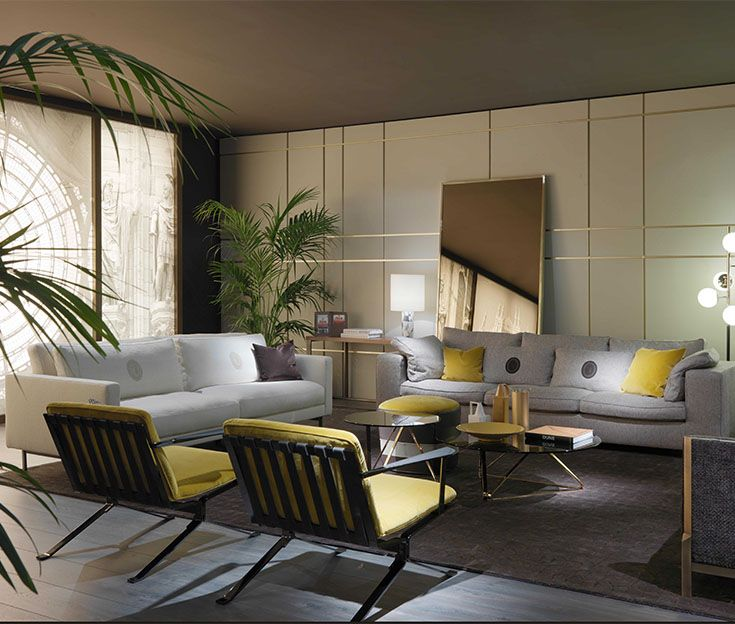 Trussardi Casa - Duse sofa, Milano sofa, Tosco coffee tables and Novecento mirror #Trussardi #LuxuryLivingGroup