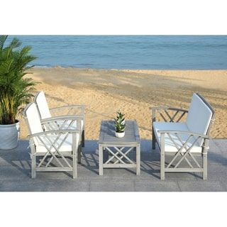 Shop for Safavieh Outdoor Living Fontana Grey Wash/Beige 4 ... on Safavieh Fontana Patio Set id=68994