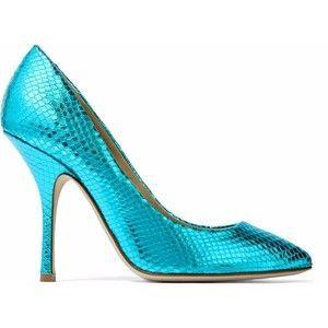 Giuseppe Zanotti Woman Metallic Snake-effect Leather Pumps Turquoise Size 35 Giuseppe Zanotti V5MPDSxd