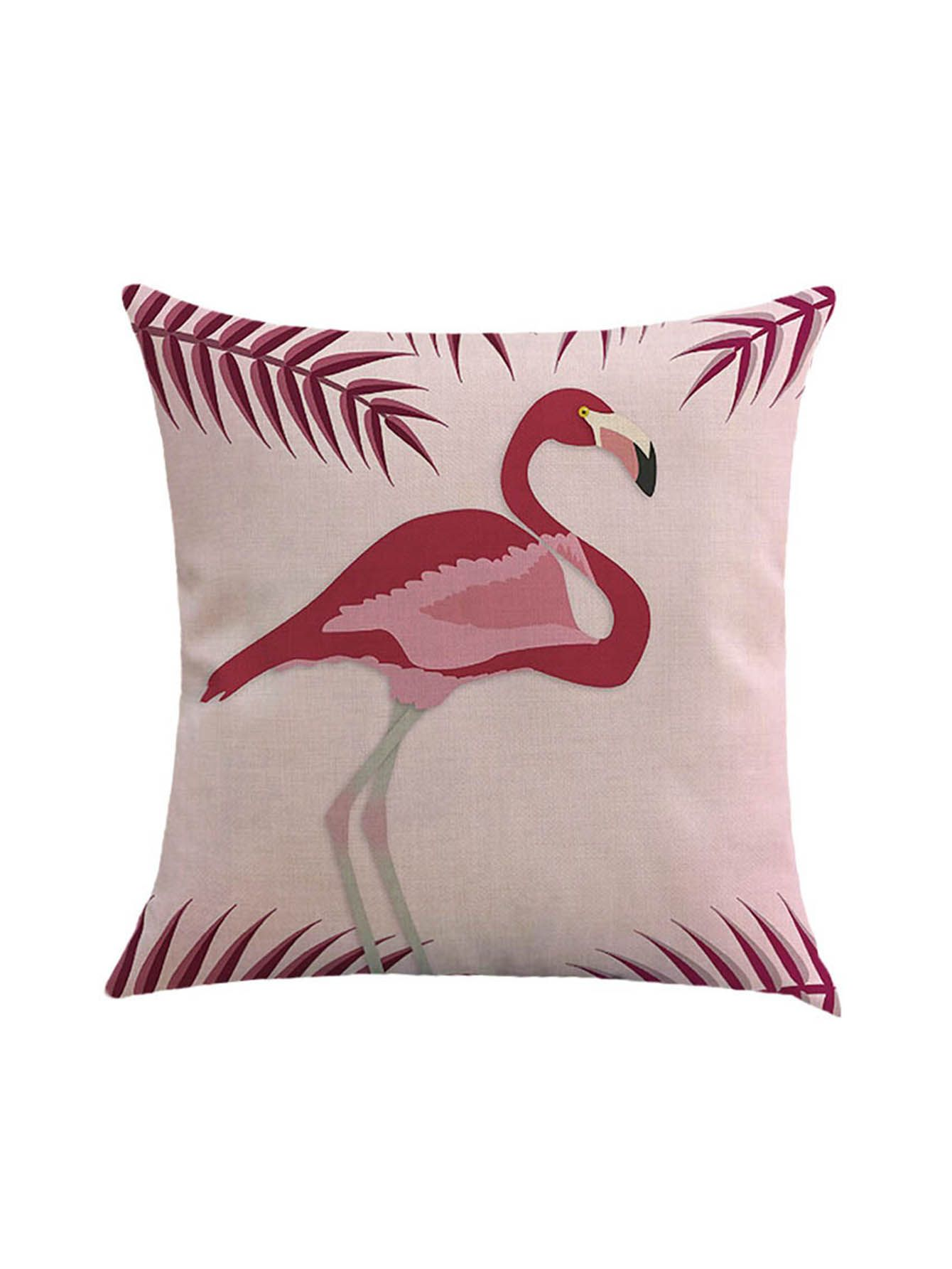 Shop Flamingo And Leaf Print Cushion Cover online. SheIn