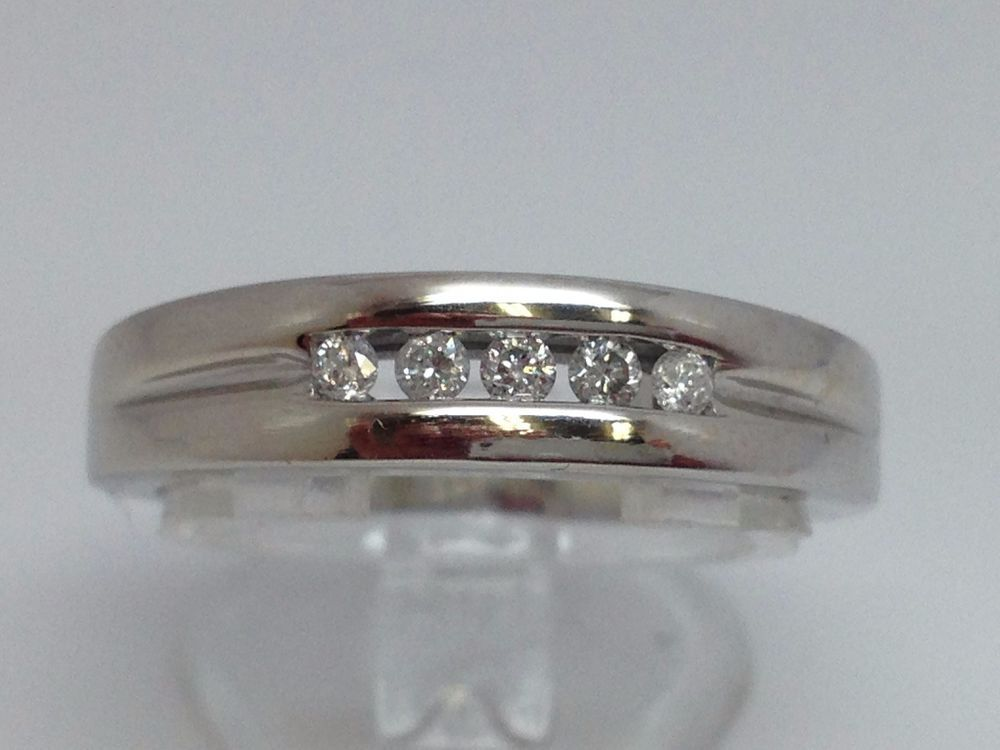 10K WHITE GOLD MENS .20CT CHANNEL SET DIAMOND BAND #Band