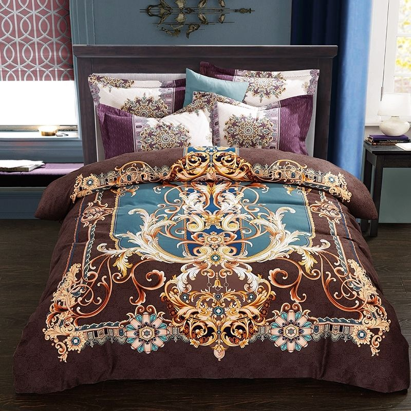 Brown Gold And Blue Moroccan Style Bohemian Inspired Southwestern Themed 100 Brushed Cotton Full Queen S Bedding Sets Duvet Cover Sets King Size Bedding Sets