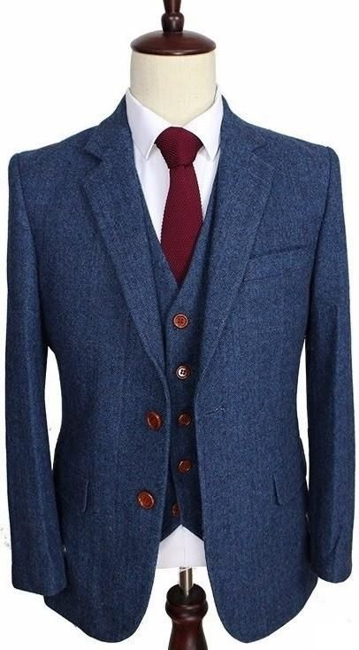 8191bda9680 Blue Estate Herringbone Tweed 3 Piece Suit. Blue Estate Herringbone Tweed 3 Piece  Suit Tailor Made Suits