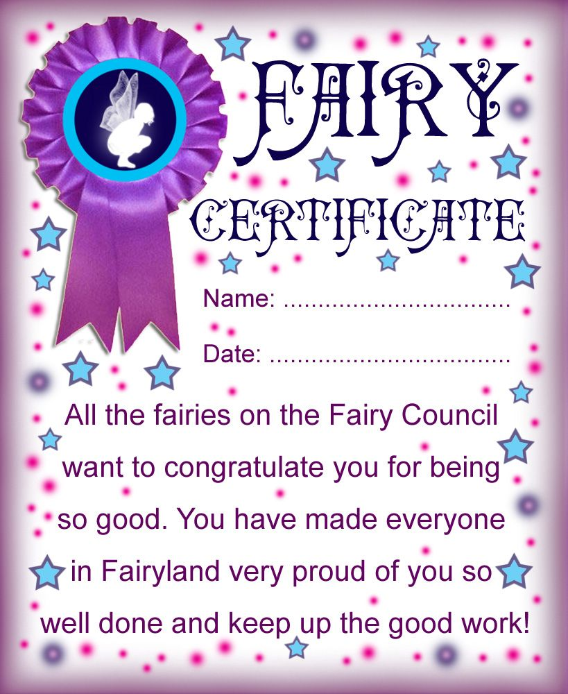Certificate from the fairies to say well done for being good fairy printable certificate for the fairy to hand to little girls when leaving xflitez Choice Image