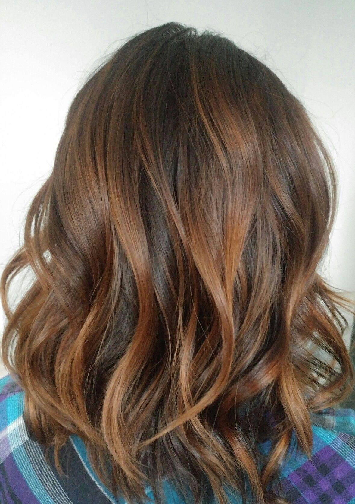 Chocolate And Butterscotch Balayage Balayage Hair Hair Butterscotch Hair Color