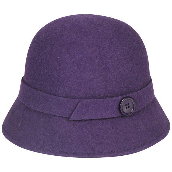 Women's Button Detail Felt Cloche - Purple