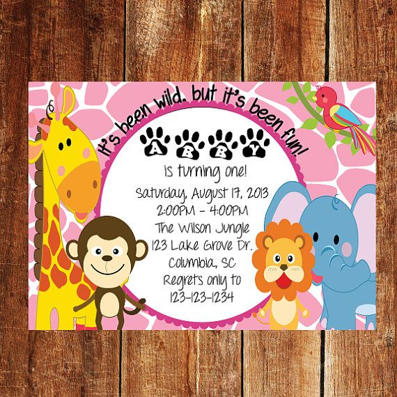 Jungle First Birthday Invitation with Pink Animal Print Background