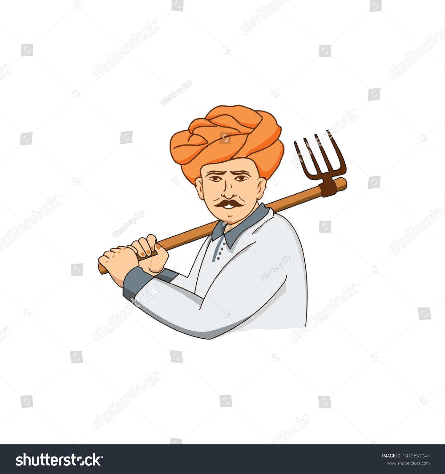 Indian Farmer vector logo working in fieldvectorFarmer