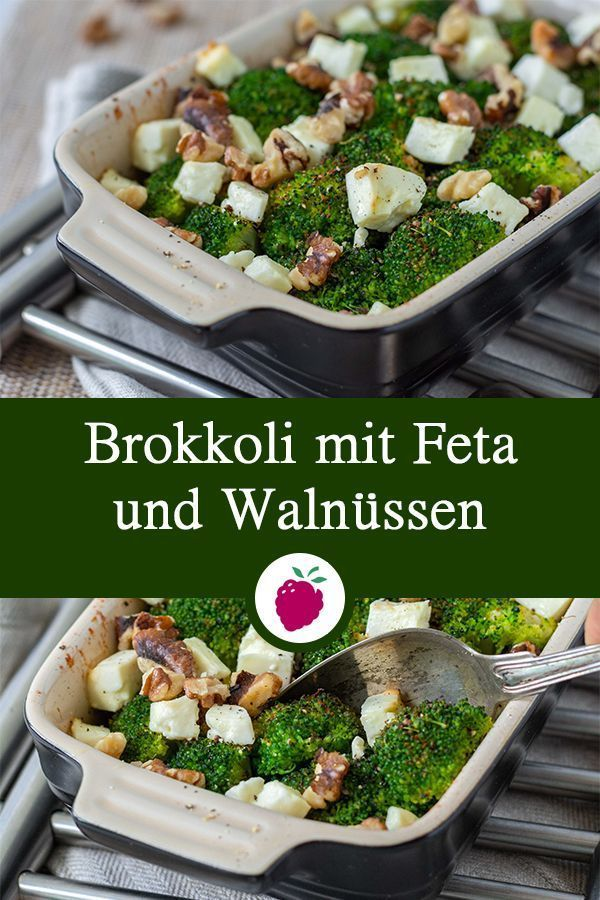 Broccoli with feta cheese and walnuts  healthy side dish  goes well with K   Vegetarische Rezepte