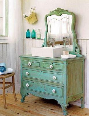Recicla un antiguo mueble de tocador en lavabo etxea - Muebles bano antiguos ...
