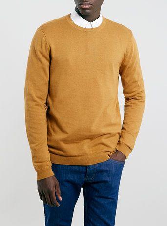 Mustard Cotton Crew Neck Jumper topman   Primavera   Pinterest ...
