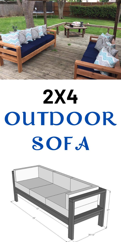 2x4 Outdoor Sofa In 2020 Outdoor Sofa Diy Diy Outdoor Furniture Diy Sofa