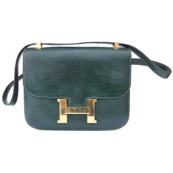 5f83a00e75b Rare Hermes Constance H Bag Emeral Green Lizard Gold Hdw 23 cm ❤ liked on  Polyvore featuring bags, handbags, circle purse, gold handbags, evening bags,  ...