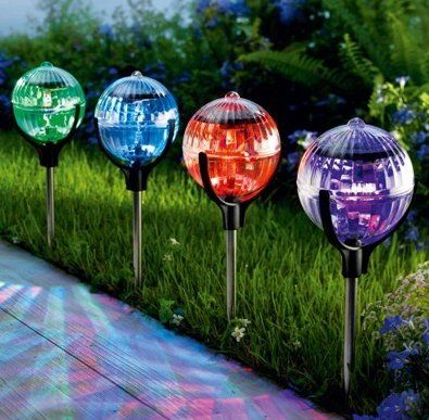 Fantastic job 2pcs led color changing outdoor solar glass ball solar fantastic job 2pcs led color changing outdoor solar glass ball solar powered garden yard stake landscape aloadofball Gallery
