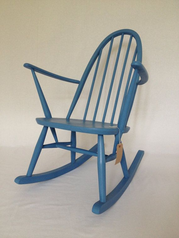 Vintage Ercol Kids Rocking Chair Hand Painted Blue Par BBbespoke