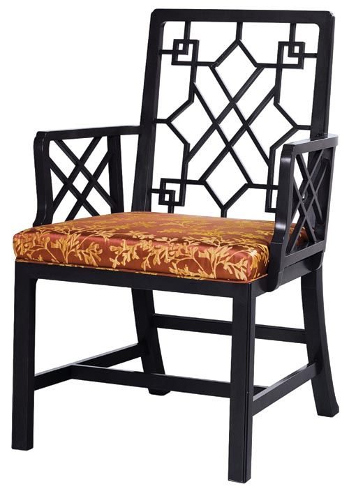 Baker Chinese Chippendale Arm Chair A fantastic fusion: British design circa 1760 based on Chinese inspiration. Its interlocking curves and brocaded cushion are a page out of the history of luxury. At Brougham Interiors, broughaminteriors.com