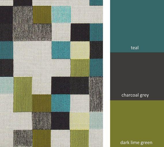 Teal Grey Geometric Upholstery Fabric Heavyweight Woven Black