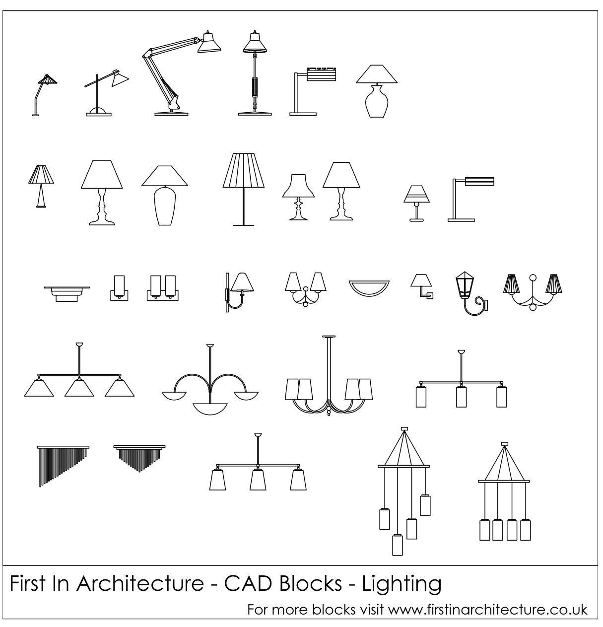Free CAD Blocks – Lighting   Architecture Life   Cad blocks