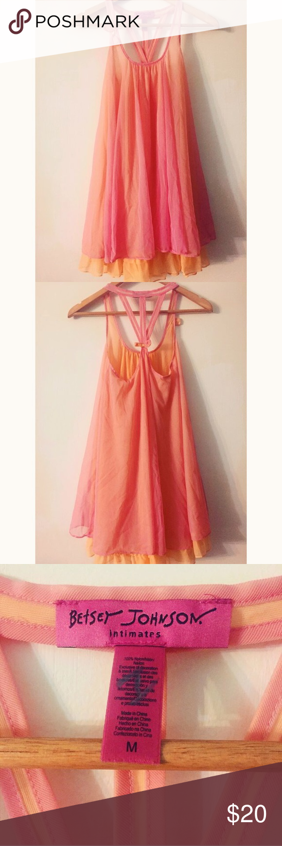 betsey johnson layered lingerie slip omg....this beautiful betsey johnson layered lingerie slip is literally the colors of a sunrise 🌅 size medium. gently worn, but in great condition; no notable signs of wear! semi-sheer & bow accents 🎀 might just have to keep this for myself if it doesn't sell soon! 😍 any questions, feel free to ask! thanks for looking ✌🏼️ Betsey Johnson Intimates & Sleepwear