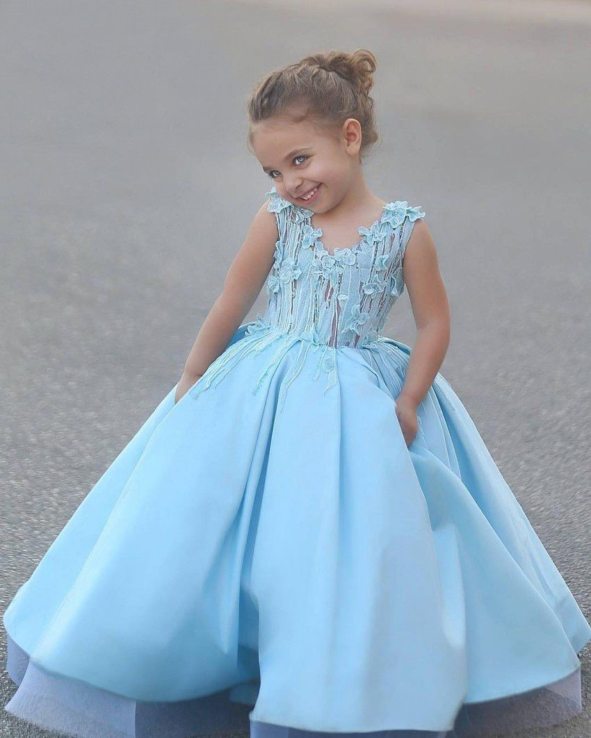 Flower Girl Dresses V Neck A Line Kids Dress | Dress for girl ...
