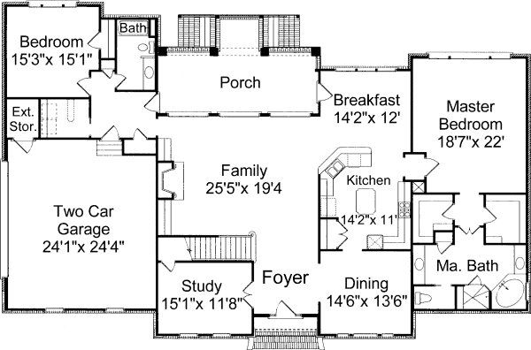 Colonial home plan. Love the Carrie bradshaw style bed/bath with ...