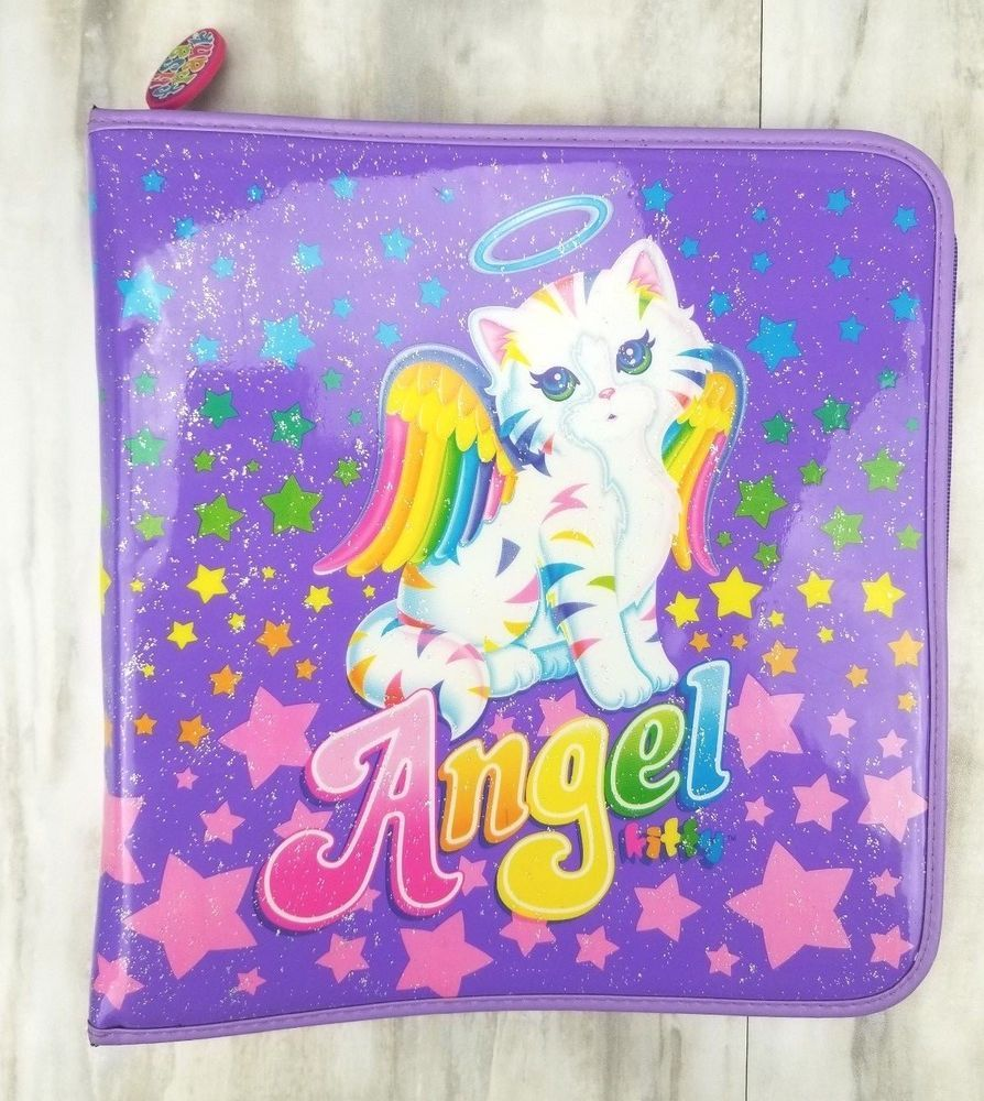 VINTAGE LISA FRANK Angel Kitty Purple White Cat Zip Around