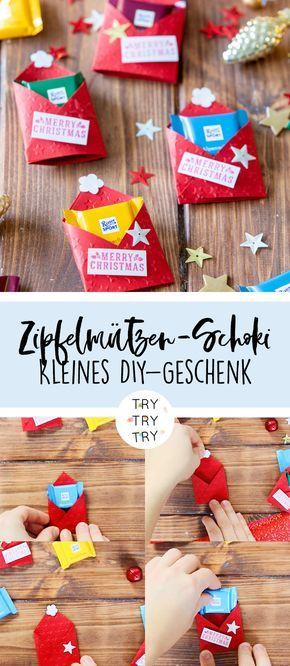 Schokoladen-Zipfelmützen / Kleine Aufmerksamkeit / Kleines DIY-Geschenk / Selbstgemachte Geschenke / Weihnachtsgeschenk / Schokoladen-Geschenk / kleines Geschenk / Geschenkidee #father