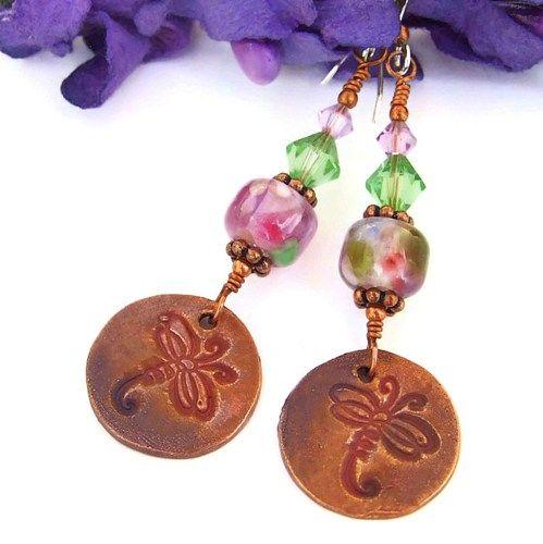 Dragonfly Handmade Earrings Lampwork Swarovski Pink Green Jewelry OOAK | ShadowDogDesigns - Jewelry on ArtFire