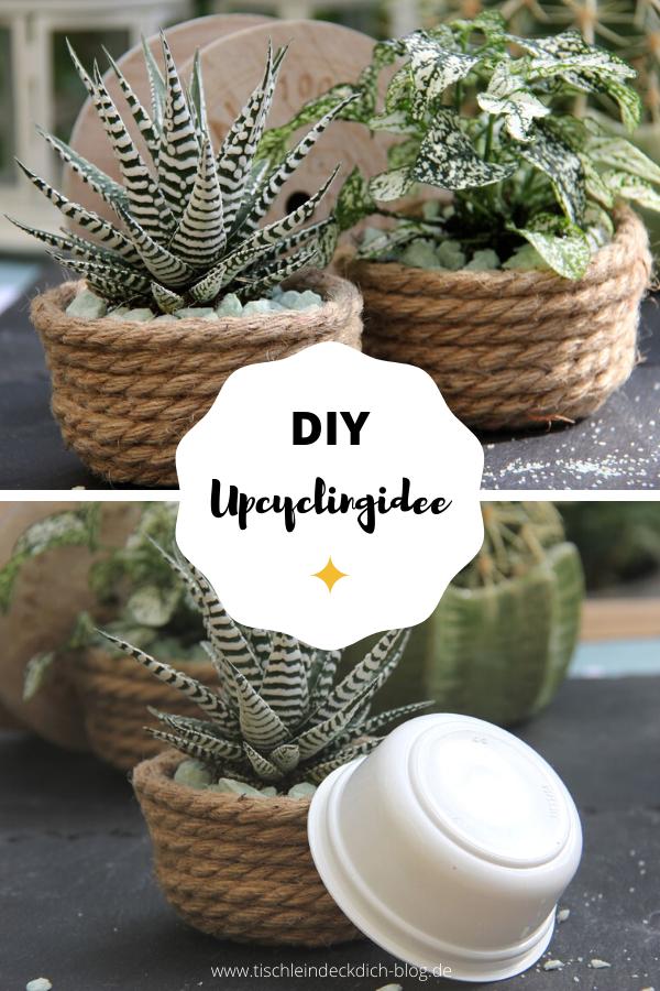 DIY Upcycling Idee, Blumentöpfe basteln aus Joghurtbechern und Sisalschnur