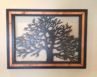 Wood Frame Metal Tree Wall Art By FastJonnyCustomDsign On Etsy