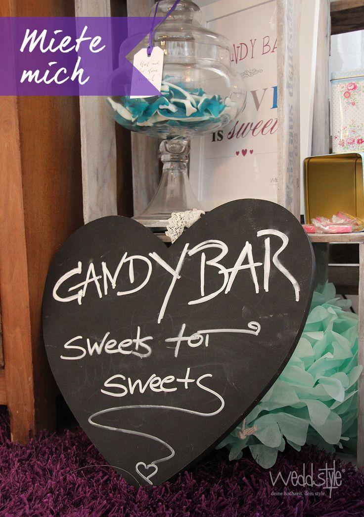 Candy Bar Herz als Kreidtafel. www.weddstyle.de/hochzeit-candybar ...