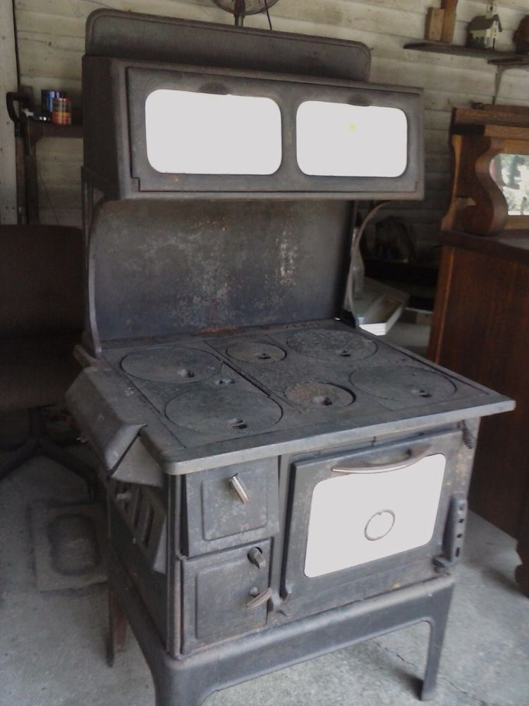 Antique Wood Cook Stove Cook Laundry Stove Parlor 6 Burner