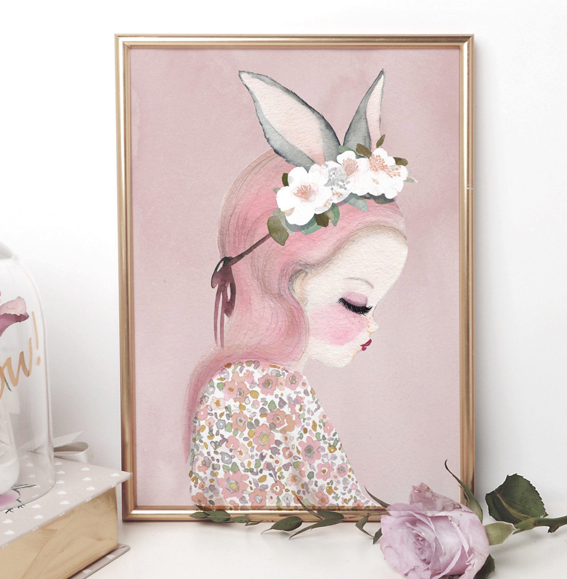 Bilby Belle Pink Nursery Wall Art In A4