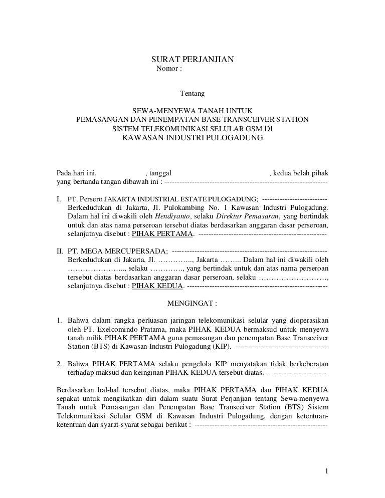 Surat Perjanjian Sewa Menyewa Tanah Untuk Bts