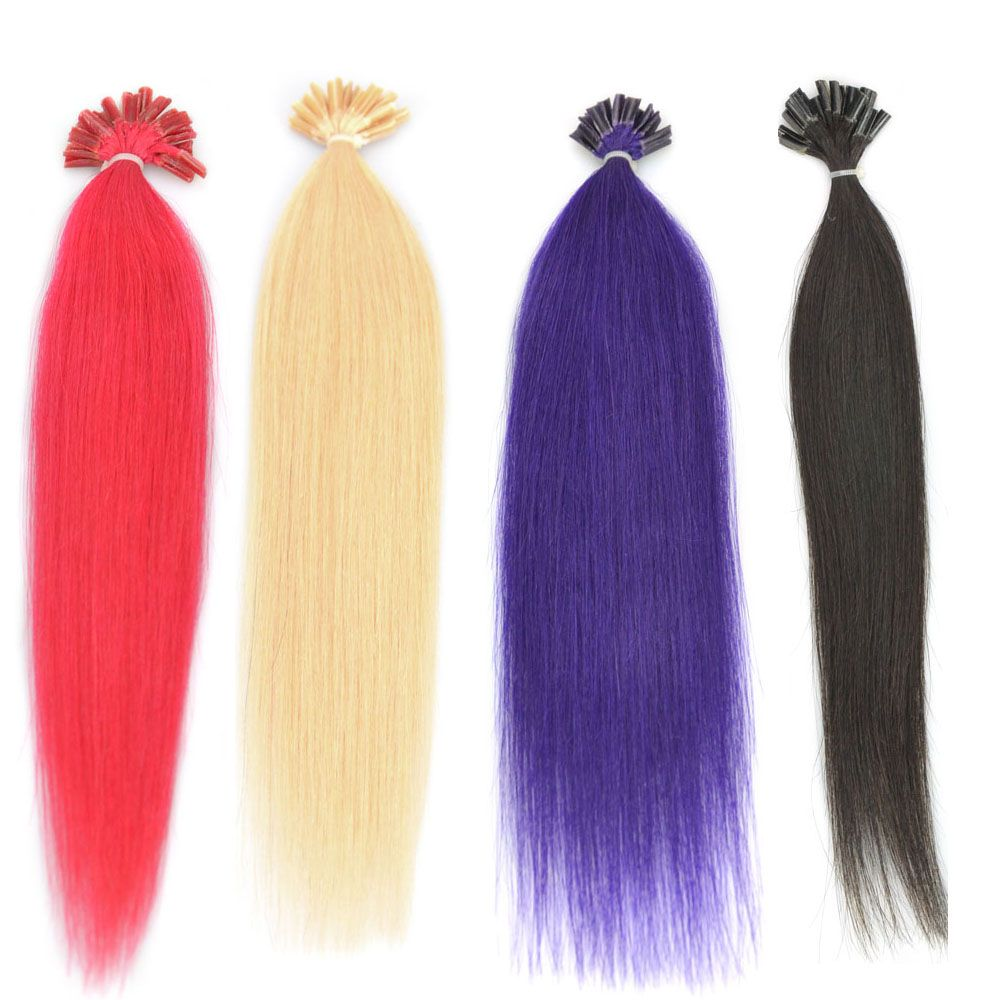Rainbow Fashion Nail U Tip Hair Extension Change Your Hairstyle