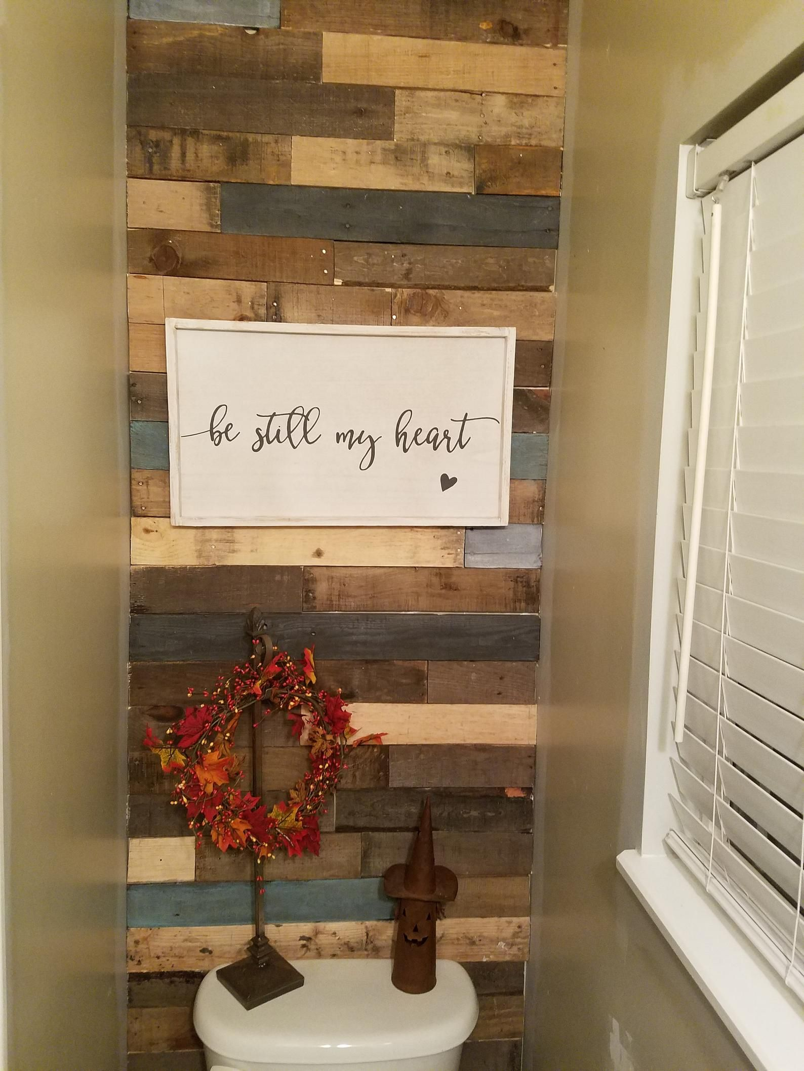 Pre Stained Pallet Wood Accent Walls Etsy Wood Accent Wall Wood Wall Bathroom Wood Pallet Wall