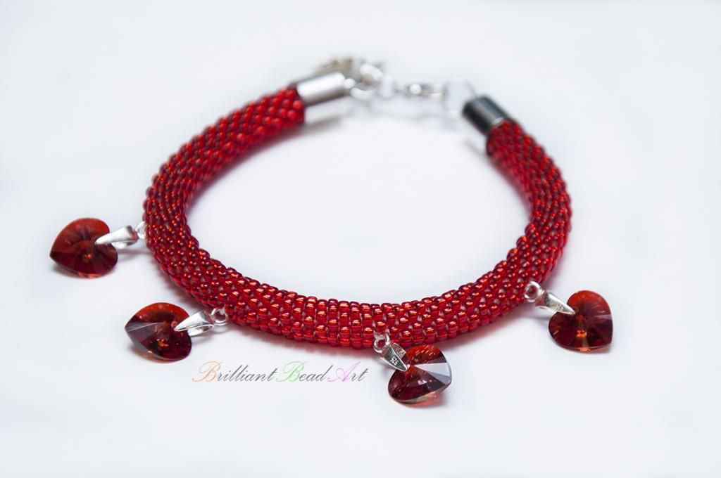 Bransoletka Valentine S Day Toho Swarovski Hearts 3027406696 Oficjalne Archiwum Allegro Swarovski Heart Beaded Jewelry Swarovski
