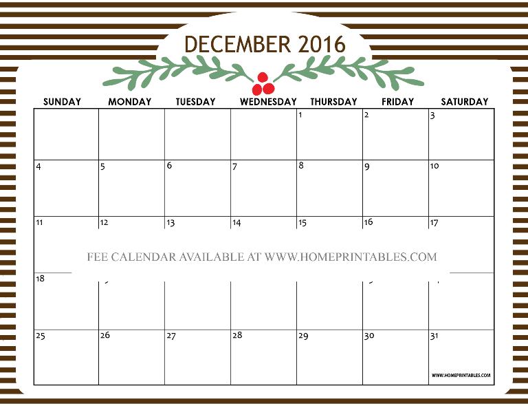 free printable december 2016 calendar