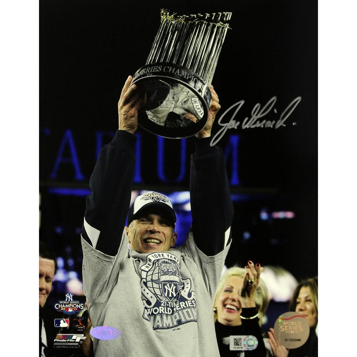 Joe Girardi with 2009 World Series Trophy Vertical 8x10 Photo (MLB Auth)