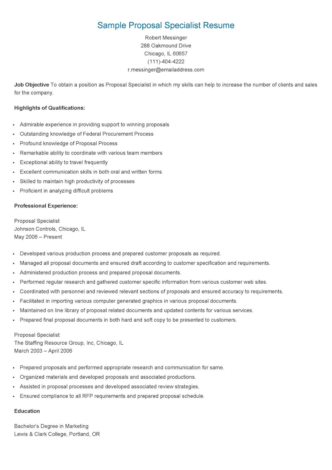 Sample Proposal Specialist Resume  Resame    Proposals