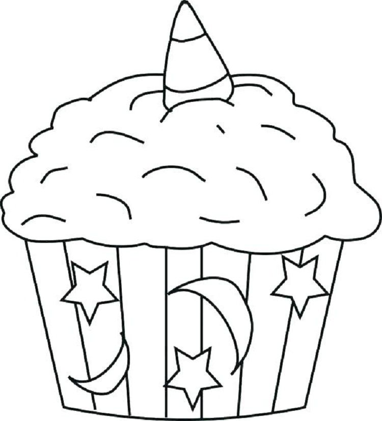 Unicorn Cupcakes Coloring Pages