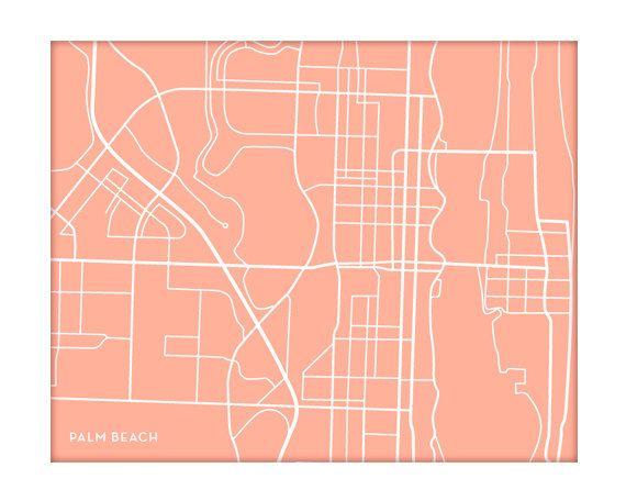 Orange City Florida Map.Palm Beach City Print Wall Art Florida Map Poster 8x10 Digital