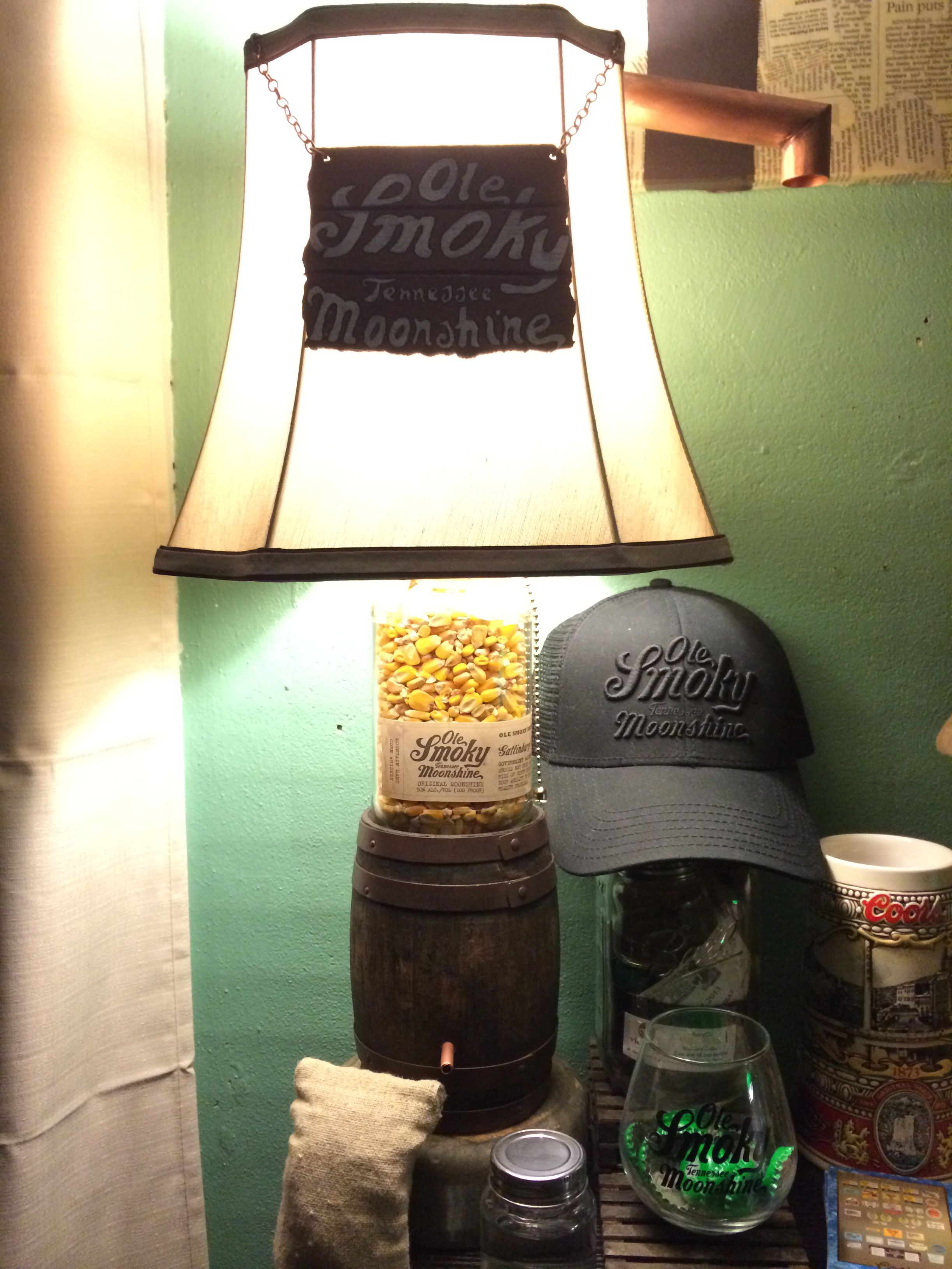 Ole smokey moonshine lamp i made 2 used an original recipe jar ole smokey moonshine lamp i made 2 used an original recipe jar so i figured id fill it with corn and make it look like an old school still aloadofball Gallery