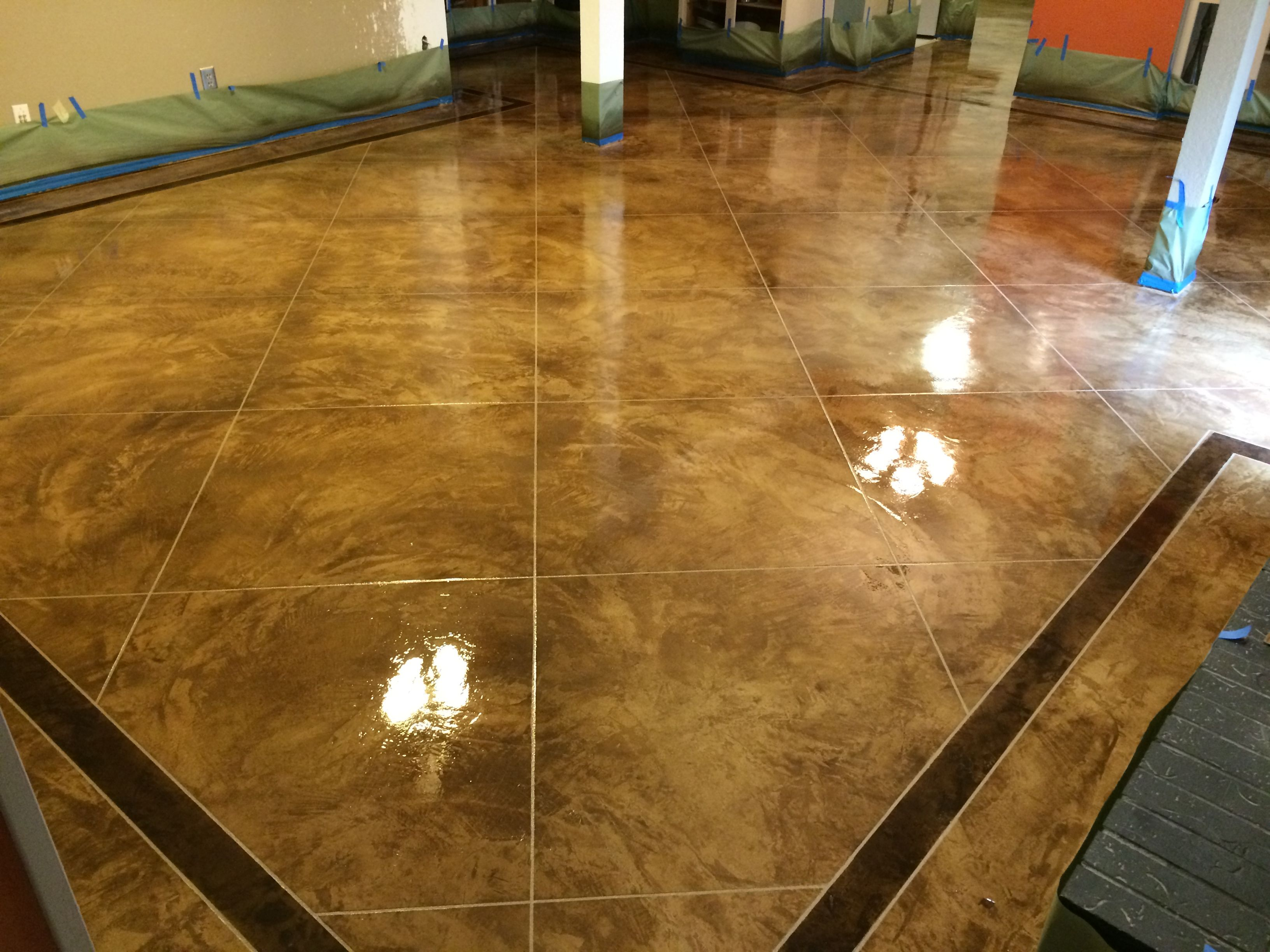 Resurfaced Concrete Floors With Black Inset Border And Diluted Black Tile Pattern Clear Acrylic