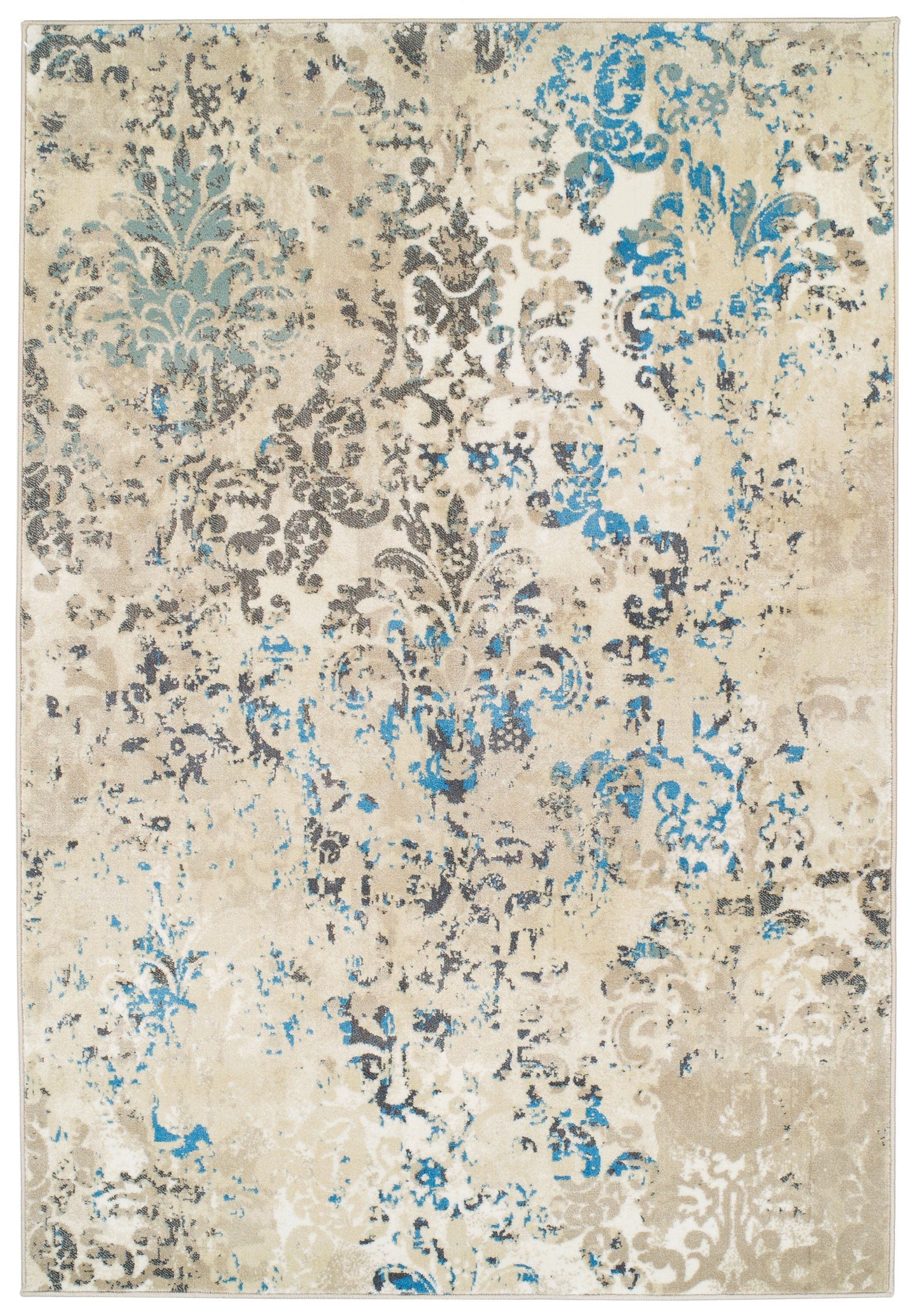 Premium High Quality Rug Large Rugs For Dining Rooms 8 By 11 Blue Beige Brown Cream